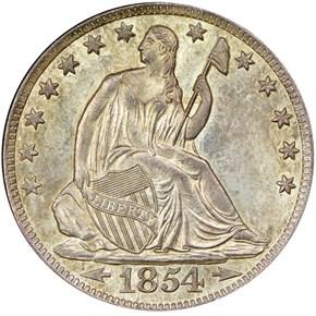 1854 O ARROWS 50C MS obverse