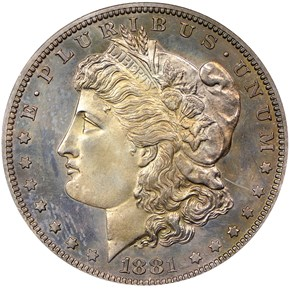 1881 S$1 PF obverse