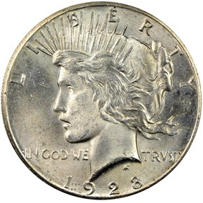 1928 S$1 MS obverse