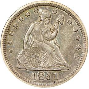 1851 25C MS obverse
