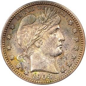 1908 25C PF obverse