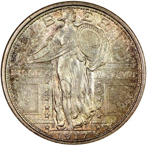 1917 D TYPE 1 25C MS obverse
