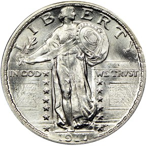 1917 D TYPE 2 25C MS obverse
