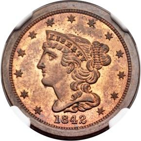 1842 ORIGINAL 1/2C PF obverse