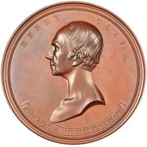 1852-DATED J-PE-8, AE HENRY CLAY 76mm MS obverse