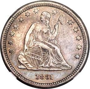 1861 S 25C MS obverse