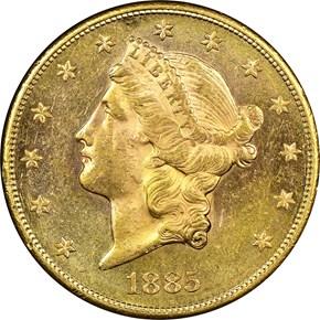1885 S $20 MS obverse