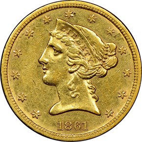 1861 S $5 MS obverse