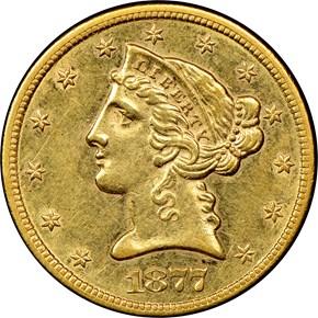 1877 CC $5 MS obverse