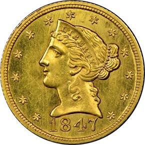 1847 $5 MS obverse