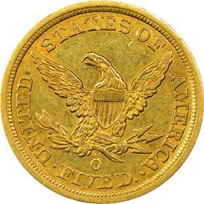 1845 O $5 MS reverse