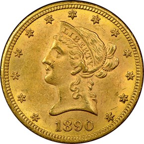 1890 CC $10 MS obverse