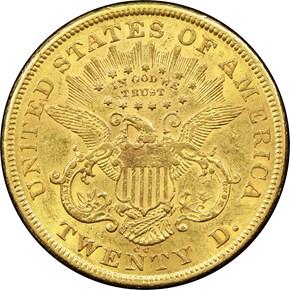 1874 CC $20 MS reverse