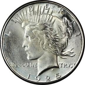 1925 S S$1 MS obverse
