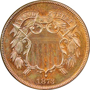 1873 CLOSED 3 2C PF obverse