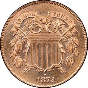 1873 OPEN 3 2C PF obverse