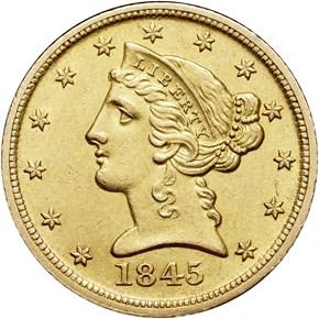 1845 D $5 MS obverse