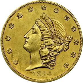 1854 KELLOGG & CO. $20 MS obverse