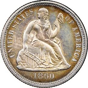 1860 10C MS obverse