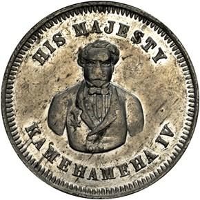 (1855-60) HAWAII JOHN T. WATERHOUSE TOKEN MS obverse