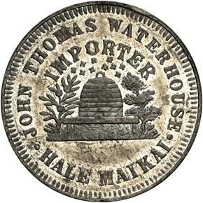 (1855-60) HAWAII JOHN T. WATERHOUSE TOKEN MS reverse