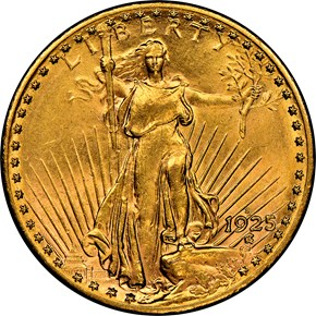 1925 S $20 MS obverse