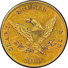 1860 CLARK, GRUBER & CO. $10 MS reverse