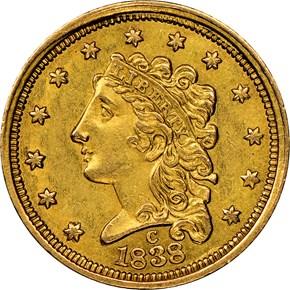 1838 C HM-1 $2.5 MS obverse