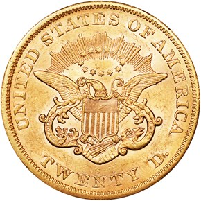 1866 S NO MOTTO $20 MS reverse