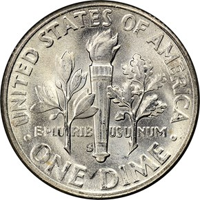 1953 S 10C MS reverse