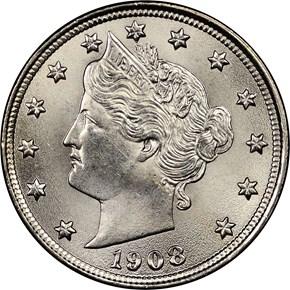 1908 5C MS obverse