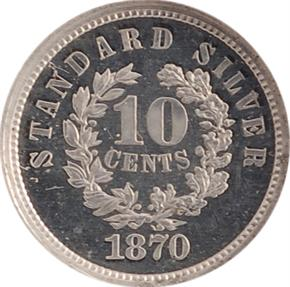 1870 J-866 10C PF reverse