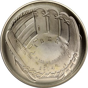 2014 P BASEBALL HALL OF FAME S$1 MS obverse