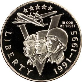 1991-1995 P W.W.II 50C PF obverse