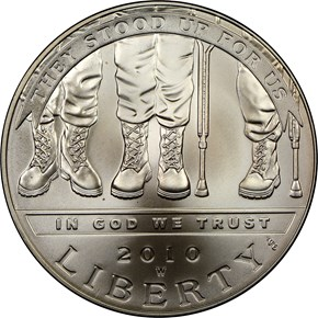2010 W DISABLED VETERANS S$1 MS obverse