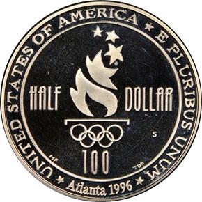 1996 S OLYMPICS SWIMMING 50C PF reverse