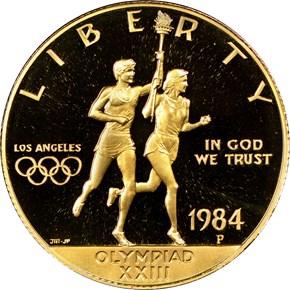 1984 P OLYMPICS $10 PF obverse