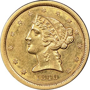 1840 $5 MS obverse