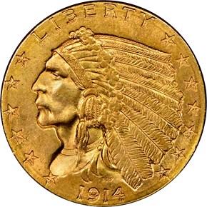 1914 D $2.5 MS obverse