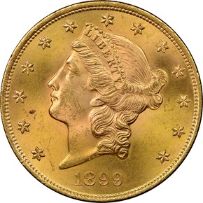 1899 $20 MS obverse