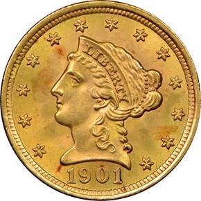 1901 $2.5 MS obverse