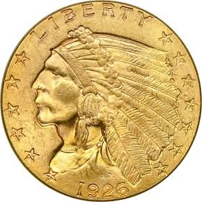 1926 $2.5 MS obverse