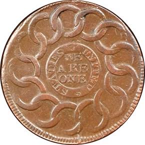 1787 4 CINQ P.R. FUGIO 'STATES UNITED' 1C MS reverse