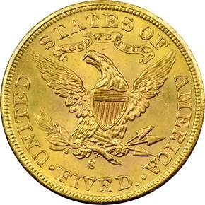 1901 S $5 MS reverse