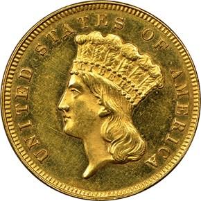 1886 $3 PF obverse