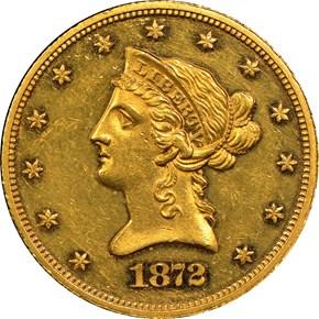 1872 $10 PF obverse