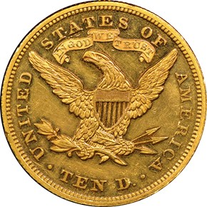 1872 $10 PF reverse