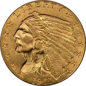 1911 D $2.5 MS obverse