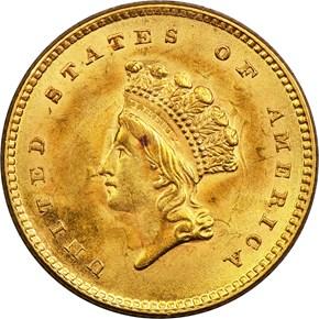 1854 TYPE 2 G$1 MS obverse