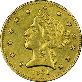 1861 CLARK, GRUBER & CO. $5 MS obverse
